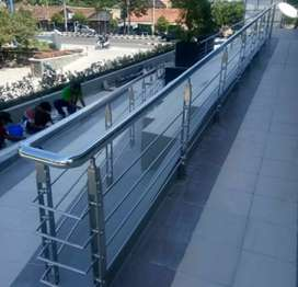Railing tangga stainless dan balkon kaca #4728