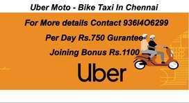 Uber Moto (Bike Taxi) -Joining Bonus Rs.1100- Per Day Rs.750 Guarantee