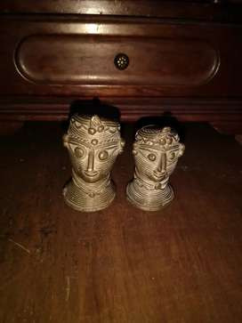Lovely vintage brass man and woman heads.