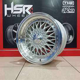 new velg hsr Rs R16x8/9 H8x100/114.3 silver polis
