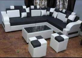 Latest 6 Seater Corner Sofa set with table and Puffy