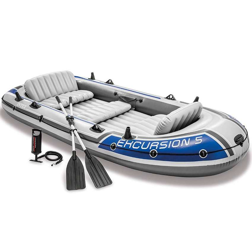 Intex Excursion 5 Person Inflatable Boat Set 0