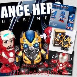 SAY10-Mainan anak Dance Hero iron manspidermanbumblebee. Robot joget