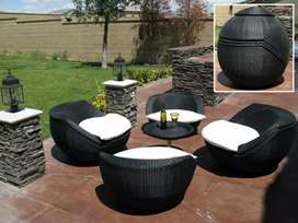 Outdoor rattan cane furniture