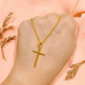 Kalung Necklace Medallion Cross Full Gold Emas asli elegan