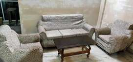 Complete Sofa Set (5-seater) with a classic mirror center table.