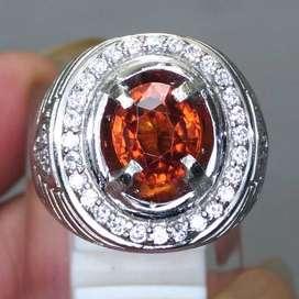 Batu Cincin Natural Orange Garnet Srilangka Asli