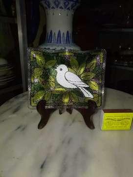 Asbak kaca motif burung