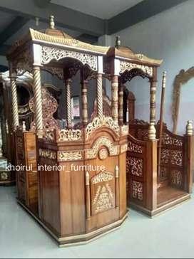 Mimbar masjid ceramah khotbah kayu jati mp017.