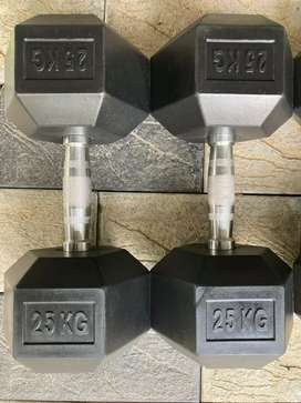 Rubber coated plates and dumbbells for sale