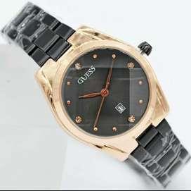 Jual jam tangan wanita*GUESS*analog,strap stainless keren, elegant,ok