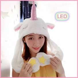 Topi Kelinci Led Gerak Lucu Bunny Hat Dance Rabbit Korea Kpop Magic