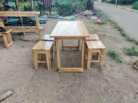 Meja kursi cafe warkop full kayu