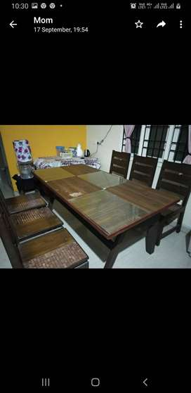 Double combo Solid Wood Heavy Dinning Table - 6 seater + Side Table