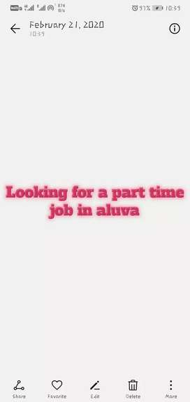 I need a part time job in aluva