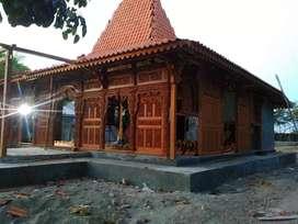 Rumah Kayu Jati Joglo Dinding Kayu Jati Ukir luas 144m