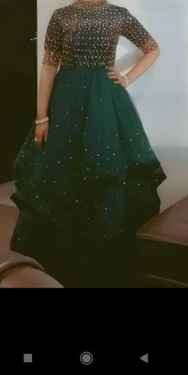 Gown in bottle green colour