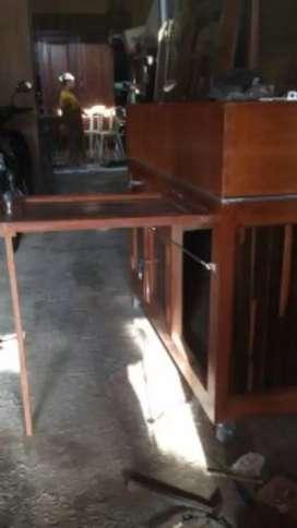 Rombong stand meja dari kayu jati