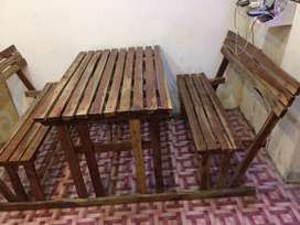 Wooden bench and table 4 person for sale