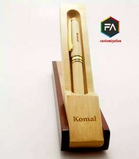 Customize wooden pen with name engraving keychain