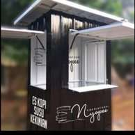 kredit usaha franchise es kopi kekinian booth container cuma DP 550rb