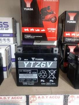 Aki motor YUASA YTZ6V Beat Scoopy ISS FU Vario 125 PCX CBR New Sonic