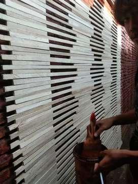 Tirai kulit bambu dan rotan dan lampit