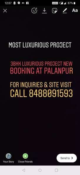 3BHK Luxurious Flat for sell in New Booking at Palanpur.