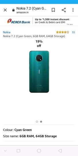 Nokia 7.2, 6GB Ram, 64GB memory
