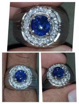 Natural Royale Blue Sapphire Srilangka Ring Perak Chrome Dope Ajib