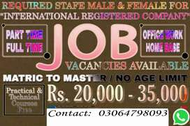 Home and office based jobs for males and females.