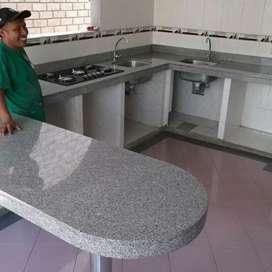 Instalasi top table meja marmer dan granit.