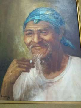 Lukisan kakek merokok karya Tulono