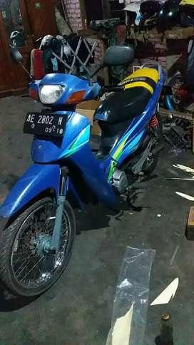 Suzuki Shogun biru pajaknya telat plat AE Magetan motor siap pakai