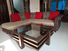L-shaped 5 seater sofa set with glass table+2 seater dewan