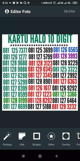 Telkomsel 10 digit kartu halo, nomor URUT+kembar+ABAB+aabb+ABBA TOP