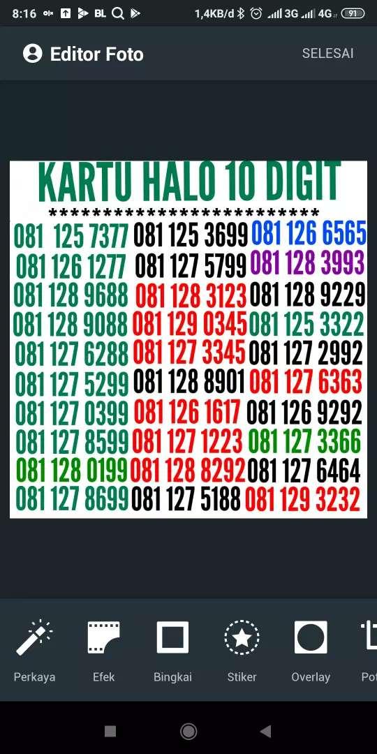 Telkomsel 10 digit kartu halo, nomor URUT+kembar+ABAB+aabb+ABBA TOP 0