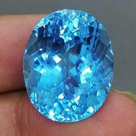 Permata Batu Blue topas Biru Swiss Besar Asli