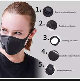Black Face Cover with Breathing Valve, Washable, Reusable, Face Cover