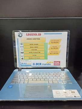 BISA KREDIT LAPTOP ASUS A407MA INTEL CORE N4000 SSD 256GB DP 450RB