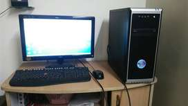 Black Computer Monitor, Keyboard, Mouse And Tower