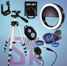 Pack Of 6 Tripod+Remote Mic+3 in 1 Lens with Ring Light+Mobile Ring
