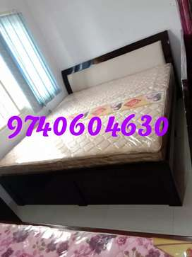 New queen size without storage bed with mattress