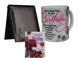 Buy Birthday Gift For Brother-Scroll Card Coffee Mug and Men's Wallet
