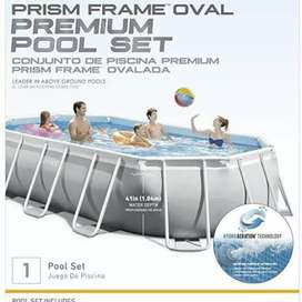 INTEX 26798 (size:20ft/10ft/4ft) prism premium oval metal frame pool.