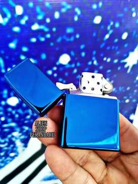 Korek api Zippo polos premium biru / blue metalik