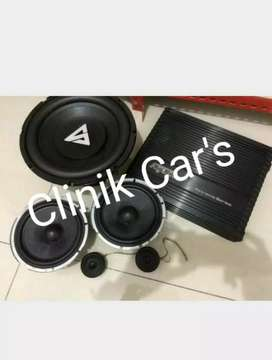 Paket audio mobil: subwoofer Stealth, power agako& split trans**
