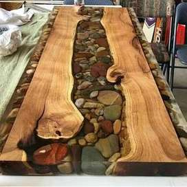 Meja kayu resin