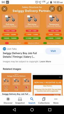 @Hiring for swiggy food delivery boys at Charminar,@