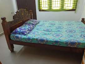 Queen sized wooden bed (cot) with mattress